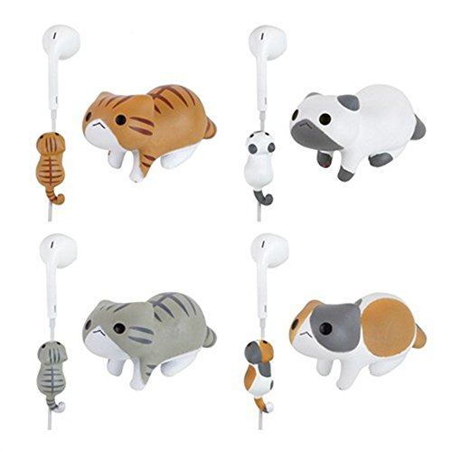 iAnko 4 Pcs (Whole Set) Little Cat Cute Cartoon Wire Clip Decoration/Cord Organizer Earphone Wrap Winder/ Fixer Holder/cord Manager/cable Winder,fit for iphone 4 4s 5 5s 6 6plus, Samsung, HTC, LG