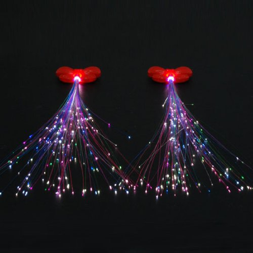 1 Pair LED Light Up Flexible Fiberoptic Sparkling Extensions Hair Red Butterfly Clip In Barrette