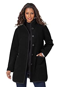Roamans Women's Plus Size Piping Detail Coat (Black,M)