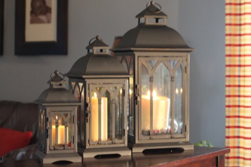 Candle lanterns set of 3 indoor or outdoor lombard candle for Unique outdoor lanterns