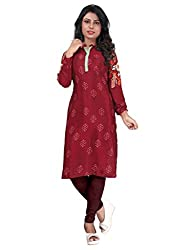 Women Icon Maroon Printed Semi-Stitched Kurti WICLE11509_XL