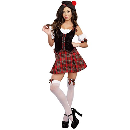 [GSG Scottish Costume for Women Adult Sexy Kilt Halloween Fancy Dress] (High Priest Zombie Costumes)