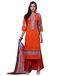 Varanga Orange Exclusive Printed Dress Material with all over printed dupatta KFHARRA2HSN1001