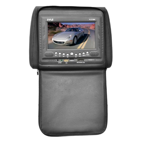Pyle PLD72BK Adjustable Headrest w/ Built-In 7-Inch TFT/LCD Monitor w/ Built in DVD Player & IR/FM Transmitter With Cover (Black)