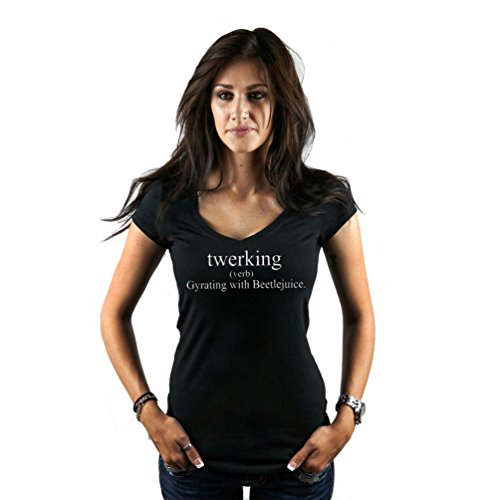 CLOTHING SERPENT Women's Funny Twerking Definition Miley Cyrus Dance T-Shirt Large Black