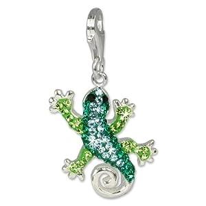 SilberDream scintillement bijoux - Charm Gecko - Femme - Argent 925/1000 - Cristaux Swarovski verts shiny - scintillement Charms - GSC302