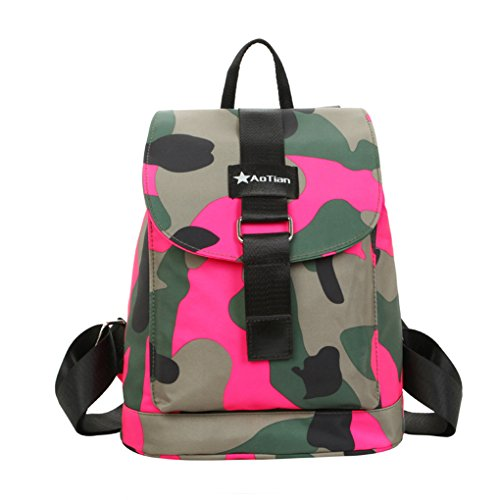 FakeFace Fashion Casual Camouflage Nylon Backpack Rucksack Bookbags for Women & Girls Boys Outdoor Sports Waterproof Camo Hiking Travel Daypack School Shoulder Bag Handbag Backpacks