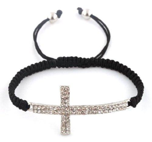 Black Lace Style Silver Iced Out Sideways Cross Macrame Bracelet
