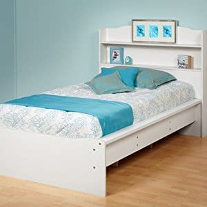 Aspen Twin Platform Bed With Integrated Bookcase Headboard Finish Bright White by Prepac