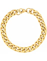 The Jewelbox Classic Curb 22K Gold Plated 316L Stainless Steel Bracelet For Men