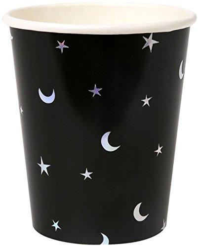 Meri Meri 45-2387 Star & Moon Halloween Paper Plate, One Size, Black