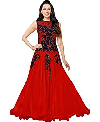Sky Global Women's Red Georgette Anarkali Unstitched Dress Material (Dress_131_FreeSize_Red)