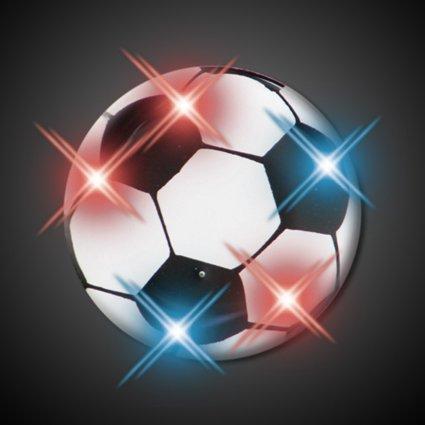 Soccer Ball Flashing Blinking Light Up Body Lights Pins (25-Pack)