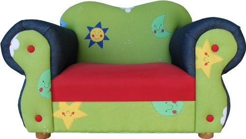 Fantasy Furniture Comfy Chair, Green Stars