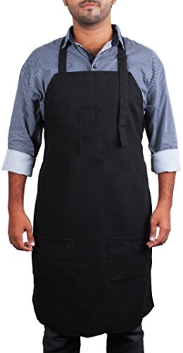 Black Bib Apron with Pockets -