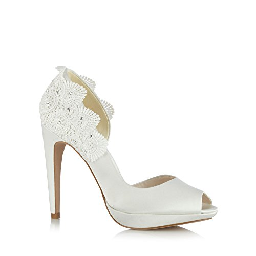No. 1 <strong>Jenny Packham Womens Designer Ivory Crochet Detail Court <strong>Shoes