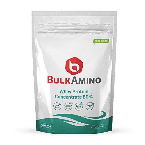 Bulkamino Whey Protein Concentrate 80 % Raw protein 1Kg(2.2Lbs) Supplement powder