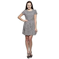PRAKUM Women's Chiffon Regular Fit Dress Grey Cream (X-Large)