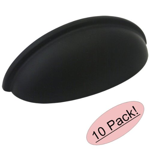Cosmas 783FB Flat Black Cabinet Hardware Bin Cup Drawer Cup Pull - 3