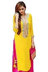 Hirva collections Cool Yellow Mirror Work Dress Material