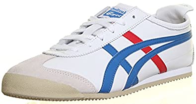 M1 Genuine Onitsuka Tiger Mexico 66 Shoes Unisex Lace Up Running Trainers (3 UK, White Blue )