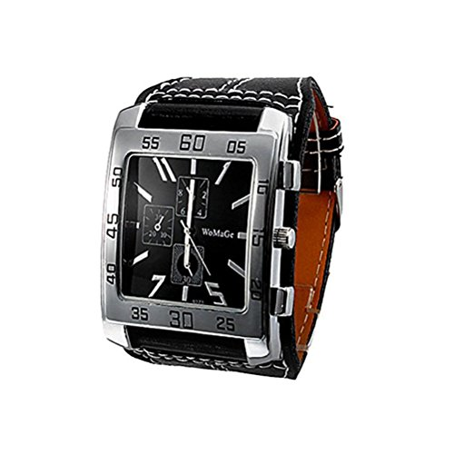 Dayan Quartz Watch Water Resistant Sports Watches Rectangle Shaped Dial Leather Strap Wristwatch Black