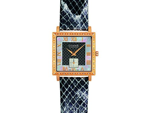 Charmex Paris 6056 30x30mm Stainless Steel Case Black Calfskin Synthetic Sapphire Women's Watch