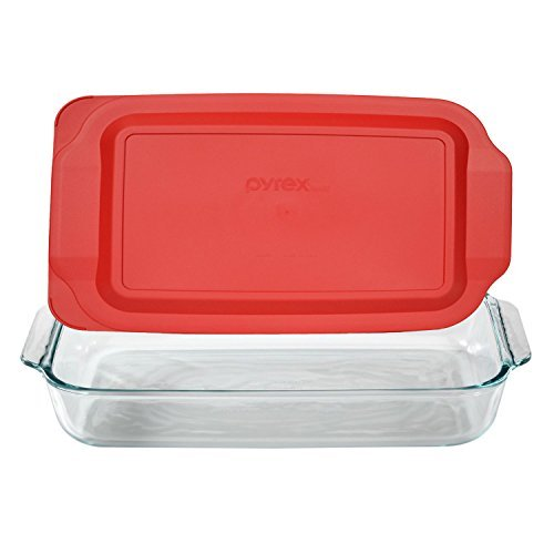 Pyrex Basics 3 Quart Glass Oblong Baking Dish with Red Plastic Lid - 9 inch x 13 Inch by Pyrex