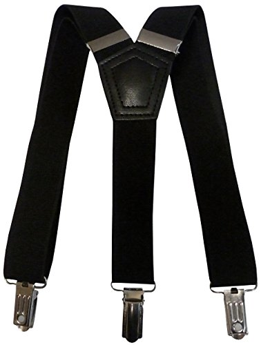 "N'Ice Caps Big And Little Kids Unisex Solid And Printed Adjustable Suspenders (7-14yrs (29"" full length), black solid)"