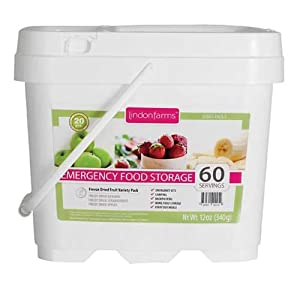 Lindon Farms 60 Servings Emergency Food Storage Kit Series Pack 5 RP4017-Freeze Dried Bananas, Freeze Dried Strawberries, Freeze Dried Apples