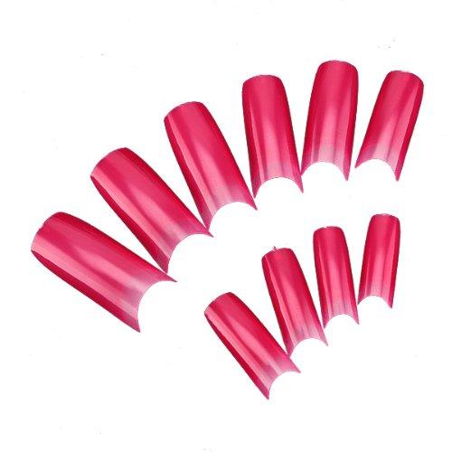 Hot Pink Galaxy Nail Products: 500pcs Hot Pink Color French Acrylic UV Gel False Nail Art