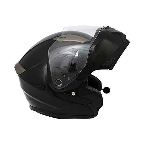 AVE A-48 Adventure Modular Flip-Up Motorcycle Helmet with Integrated  Bluetooth and Drop Down Sun Visor (Black a5bb186eef2