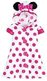 Disney Store Minnie Mouse Hooded Swimsuit Cover Up with Ears: Toddler Size 4T (White with Pink Polkadots)