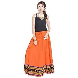 Prateek Retail Ethnic Orange Cotton Long Skirt