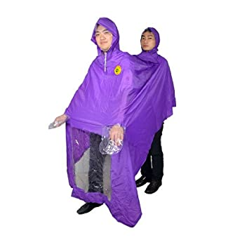 Allegra K Motorcycle Two Person Style Plastic Raincoat Poncho Purple