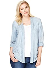 Plus Pleated Neck Metallic Effect Cardigan with Linen