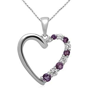 """Jewelili Round Cut Genuine Amethyst and Lab-Created White Sapphire Heart Pendant in Sterling Silver - 18"""" Chain"""