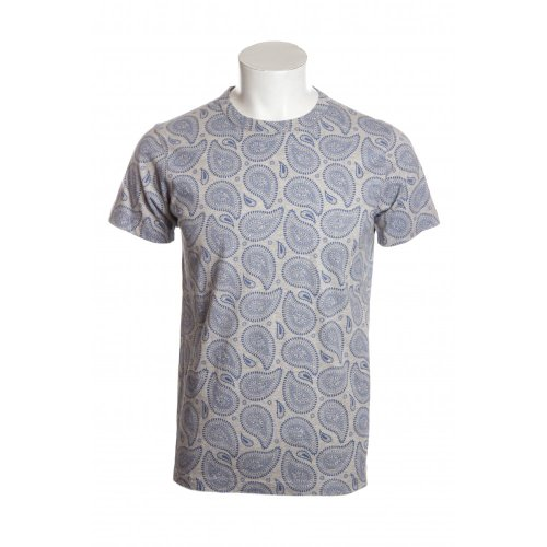Universal Works mens blue paisley print short sleeve crew neck t-shirt in grey marl MED