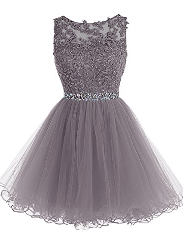 Tideclothes Short Beaded Prom Dress Tulle Applique Evening Dress Grey US6 (Amazon Short Prom Dresses compare prices)