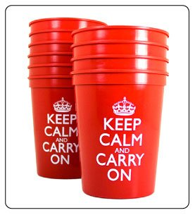 Plastic Cups for Party Supplies, College Dorm, Party Ideas, Party Decorations - Keep Calm and Carry On
