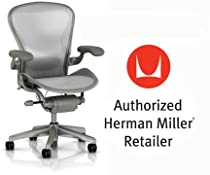 Hot Sale Herman Miller Aeron Chair Highly Adjustable with Lumbar Support Pad with C7 Hard Floor Casters - Large Size (C) Titanium Smoke Light Frame, Classic Zinc Pellicle Mesh Home Office Desk Task Chair