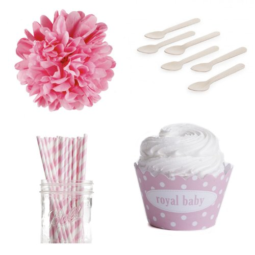 Dress My Cupcake Personalized Dessert Table Party Kit, Polka Dot, Royal Baby, Pink