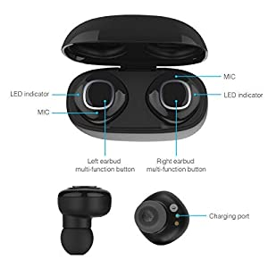 True Wireless Earbuds,Sport Headphones in-Ear TWS Bluetooth 3D Stereo Sound True with Charging Box Built-in Mic and Noise Cancelling Stereo for iPhone and Android,with 500mAh Charging Case