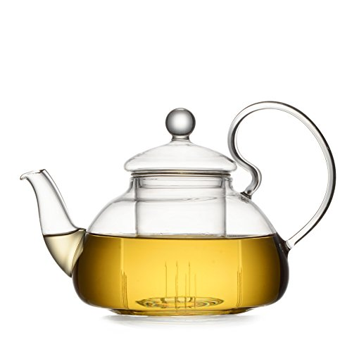 Dictea Glass Teapot with Infuser and Lid - For Loose Tea, Bagged and Flowering Teas 21 oz.fl (21 Oz Glasses With Lids compare prices)