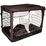 Pet Gear The Other Door Steel Crate with Fleece Pad for Cats and Dogs Up to 70-Pounds, Chocolate