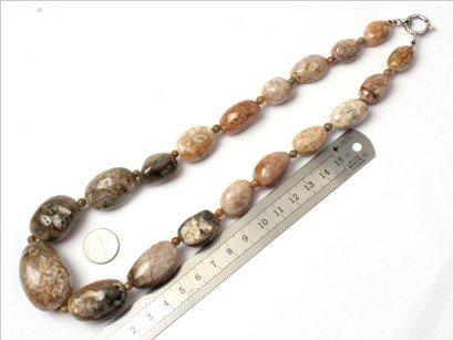 16--30mm graduated ocean jasper beads strand necklace 18