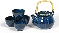 Japanese Blue Namako Cherry Blossom Tea Set