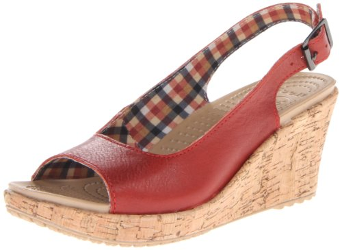 Crocs Women'S A-Leigh Wedge Sandal,Scarlet,5 M Us front-1075479