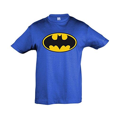 Batman -Maglia per bambini con Logo - Licenza ufficiale - 100% cotone - Blu - XL