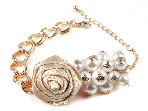 Elegant Women's Imitation Pearl Rose Flower Bracelet Bangle Chain